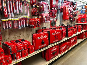 Power tools on display in an electrical wholesalers near me