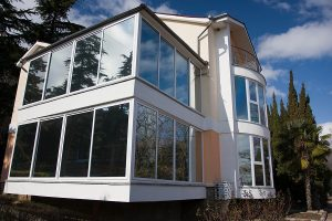 Modern home with privacy film glass windows